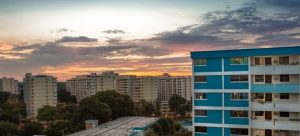 HDB and sunset